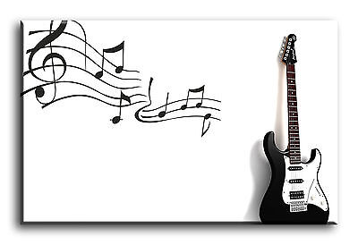 Large Wall Art Canvas Picture Print of Electric Guitar Musical Notes Framed