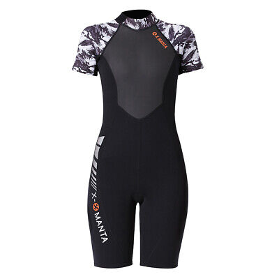 Women Short Sleeve Wetsuits One Piece Swimwear Shorty Suits for Scuba Diving