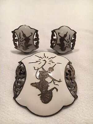 VTG 925 Sterling Silver Niello Siam White Enamel Brooch Earrings Asian Chinese