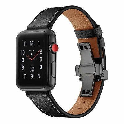 40/44mm Butterfly Buckle iWatch Leather Band Strap fr Apple Watch Series 4 3 2 1
