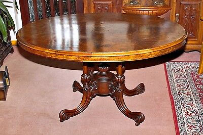 Antique Victorian  Walnut Burr Oval Loo Dining Table To Seat 6 People