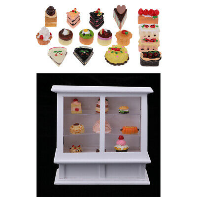 Wooden 3-tier Cake Cabinet with 25Pieces Cakes for 1/12 Dollhouse DIY Crafts