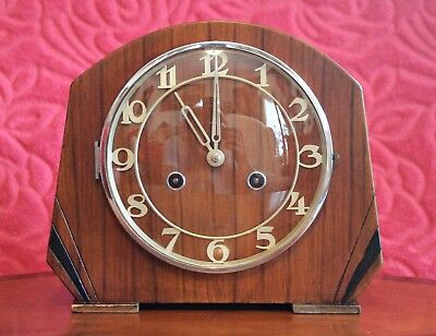 Vintage Art Deco English 8-Day Striking Mantel Clock with German Movement