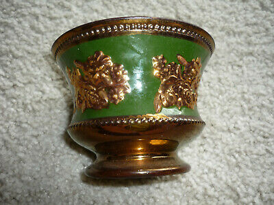 Beautiful Copper Lustre Footed Bowl W/ Raised Copper Flowers On Green Panel