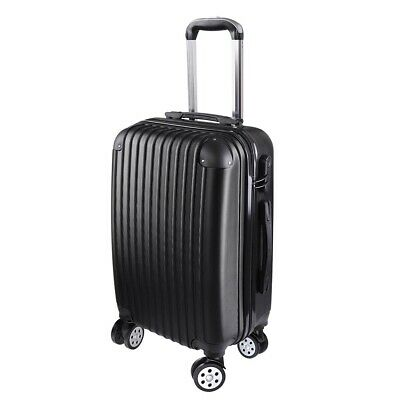 """20"""" Carry On Luggage Travel Bag Trolley Suitcase ABS 360° Rolling Wheel Black"""