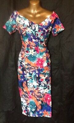 Pretty Kitty Dress 16 Wiggle Floral Wedding Occasion 40s 50s