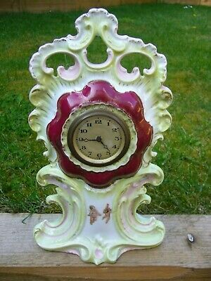 Victorian ceramic mantle clock WORKING