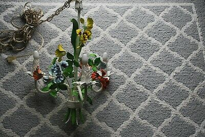 Vintage French Tole Metal Floral Hanging Shabby Chic Chandelier Great Size Works