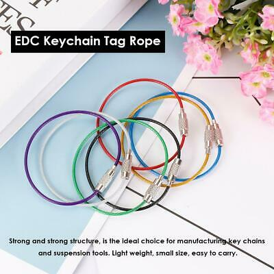 10pcs 15cm EDC Keychain Tag Rope Stainless Steel Wire Cable Loop Screw Lock Tool