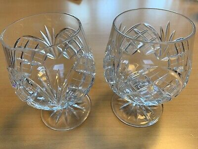 LOVELY CUT GLASS LEAD CRYSTAL BRANDY SPIRIT GLASSES BALLOONS SNIFTERS x2