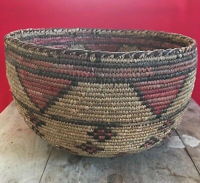 RARE Old NATIVE AMERICAN /African ? Natural Coiled  ANTIQUE  Basket