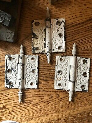 3 Orig. Matching Antique 19Thc Embossed Victorian Cast Iron Door Hinges - 3X3""