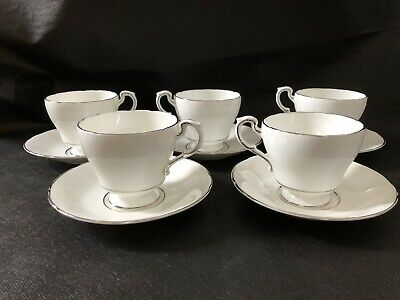 Paragon Teacup and Saucer White Platinum Trim Scalloped Saucer 5 Sets Classic