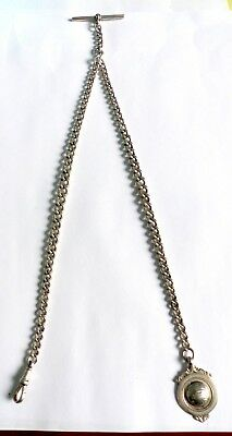 Antique 1919 Hallmarked Silver Watch Chain With Albert, T-Bar & Football Fob