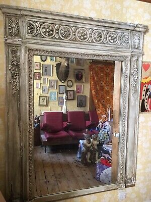 Antique French Moulded Ornate Over The Mantle Mirror