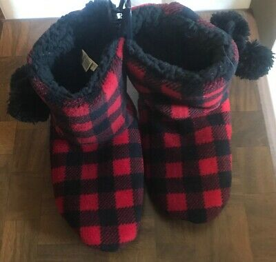 e4c92d1f9ea82 New Mixit Slippers Socks Booties - Red And Black Checkered - Size Large 9-10