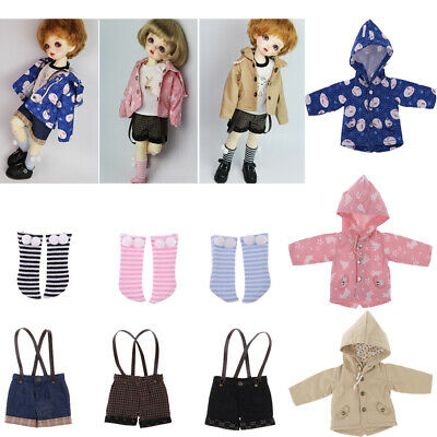 Doll Clothing Casual Hoodied Coat/Hot Pants/Striped Socks for 1/6 BJD SD DD DOA