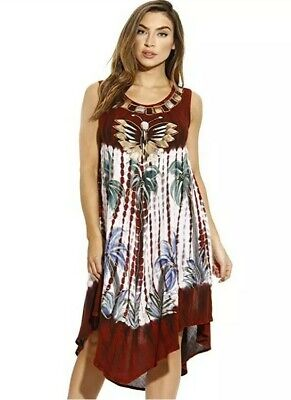 4939171272 Riviera Sun 21666 Summer Dress Tie Dye Embroidered Beach Cover-Up Size Med  New