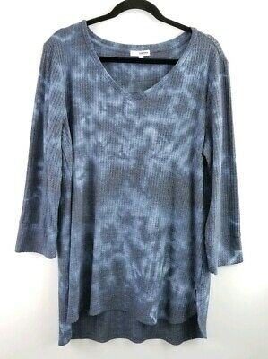 c57f873e Sonoma Womens XL Blue Tie Dye Waffle Textured 3/4 Sleeve V Neck High Low