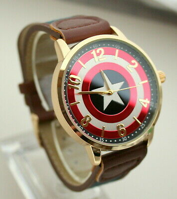 Comics Captain America Shield Watch Men's Dress New Box Strap