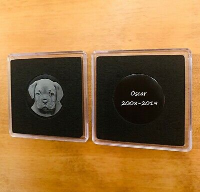 Personalised Photo Engraved Coin Pet Memorial Dog, Cat, Parrot, Animal Keepsake