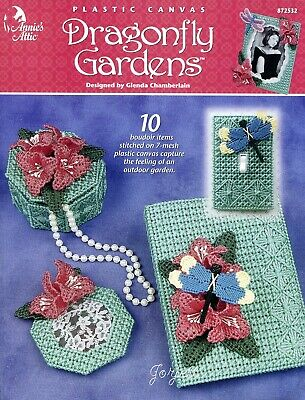 Dragonfly Gardens ~ 10 Dragonfly Flower Projects plastic canvas pattern book NEW