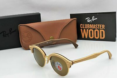541b9ced2 Ray Ban RB4246-M 1179/57 CLUBMASTER WOOD 51mm Polarized Lens Sunglasses NEW