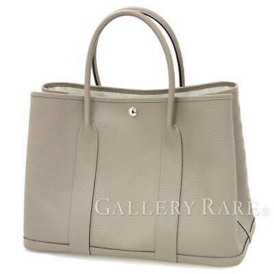 0a18589781341 HERMES Garden Party PM Vache Country Gris Asphalte  C Tote Bag Authentic  5355563