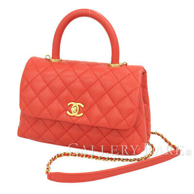 7f1fd5c5cc9a1f CHANEL Small Top Handle Flap Bag Caviar Leather Red A92990 Authentic 5366668