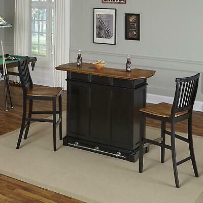 Home Styles Americana Bar and Two Stools Black/Oak