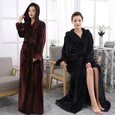 Womens Coral Fleece Bath Robe Shawl Dressing Gown Wrap Warm Housecoat  S-5XL