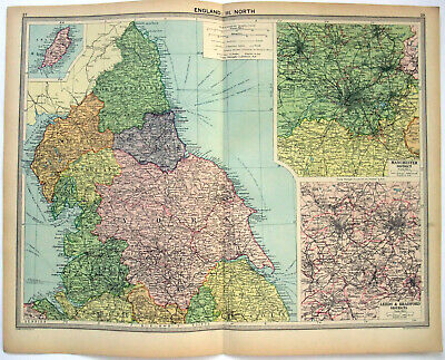 Original 1926 Map of Northern England by George Philip & Son. Vintage