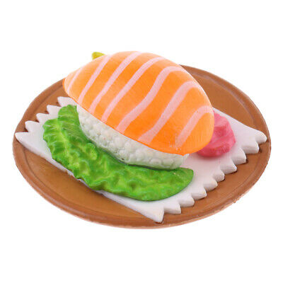 Miniature Japanese Food Salmon Sushi in Plate Dollhouse Kitchen Decor 1:12