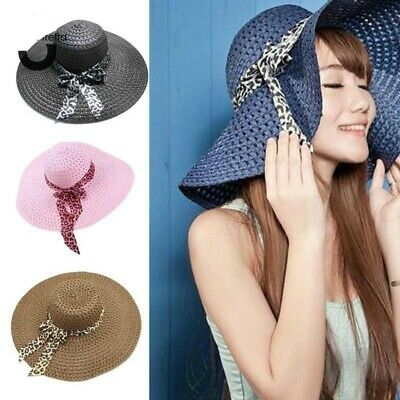 60ca6b1645b86 Women Girl Summer Wide Brim Straw Hat Beach Hat Sun Hat Floppy Fold Straw  Casual