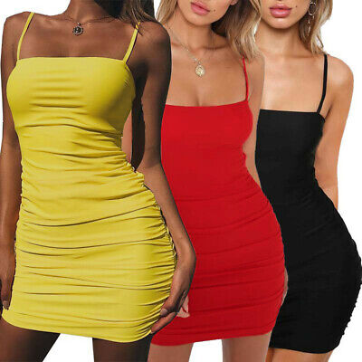 Women Strappy Dress Sleeveless Backless Bow Cocktail Bodycon Party Dress CA