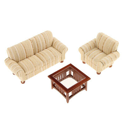 Modern Style Sofa Couch Table Set 1:12 Dollhouse Miniature Furniture Gold
