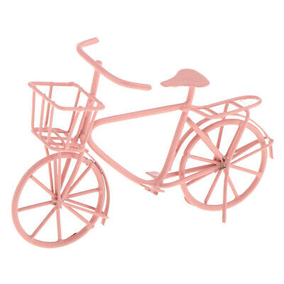 Handmade Pink Bicycle Bike Model Toy for 1:12 Dolls House Miniature Decor