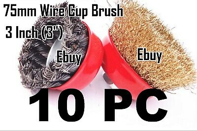 "10 Wire Cup Brush 3"" (75mm) for 4-1/2"" (115mm) Angle Grinder Twist Crimped"