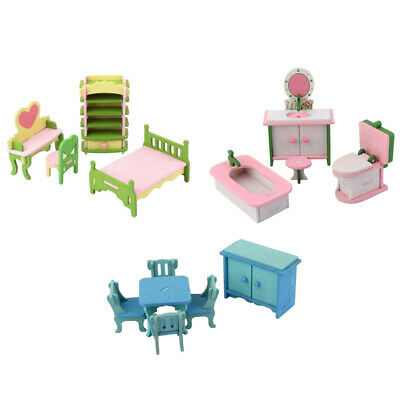 14pcs Wood Vintage 1:12 Dollhouse Miniature Hand Painted Furniture ACCS Toy