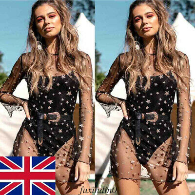 Women's Boho Festival Mesh Transparent See Though Black Cover Up Mini Dress UK