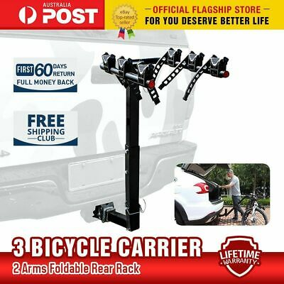 """3 Bicycle Bike Car Carrier Rear Rack 2"""" Steel Foldable Hitch Mount Towbar"""