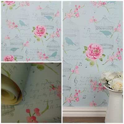 Arthouse Shabby Chic Birdcage Wallpaper - Alice Calligraphy Pink / Teal - 650302