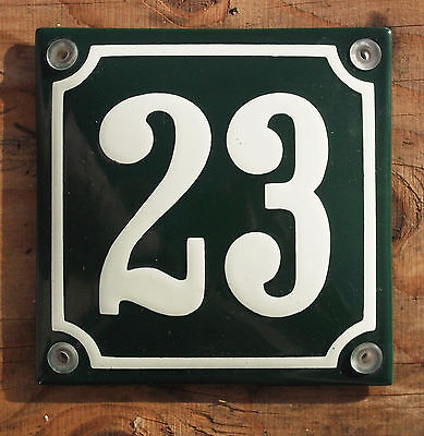 CLASSIC ENAMEL HOUSE NUMBER 23 SIGN. CREAM No.23 ON A GREEN BACKGROUND. 10x10cm.