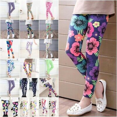 Cute Girls Colorful Floral Skinny Leggings Casual Kids Stretchy Pants Trousers