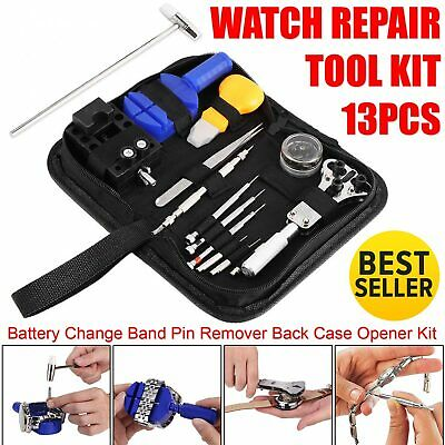 Battery Change Watch Repair Tool Band Pin Remover Back Case Opener 13 Pcs Kit US