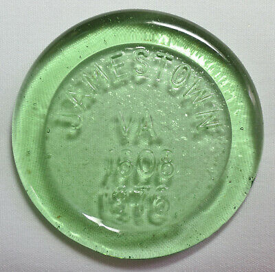 Vintage BLENKO Art Glass Commemorative Medallion Paperweight-JAMESTOWN VA 1978