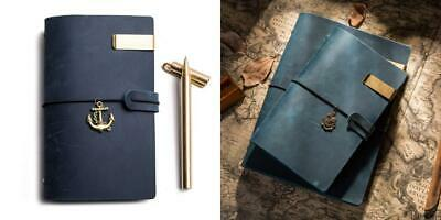 Travel Journal and Brass Pen, Handmade Leather Notebook with Ring Binder,...