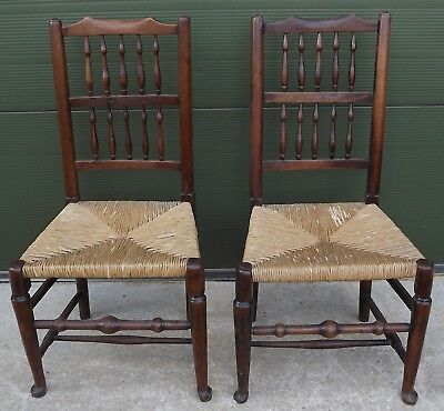 Pair of Antique Victorian Beech & Elm Rush-Seated Country Chairs Spindle Backs