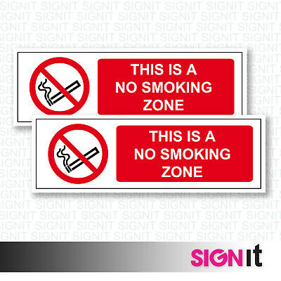 No Smoking Zone - No Smoking Zone Sign Vinyl Sticker (50mm x 150mm)