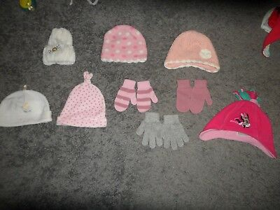 Bundle of Baby Girls Clothes 3-6 Months  Selection Of Hats and Gloves